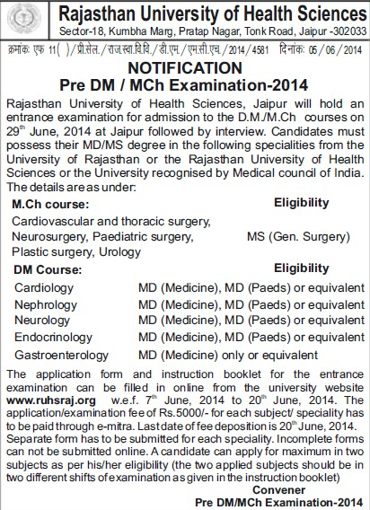 DM and MCh Examination 2014 (Rajasthan University of Health Sciences (RUHS))