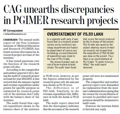 CAG unearths discrepancies in PGIMER (Post-Graduate Institute of Medical Education and Research (PGIMER))