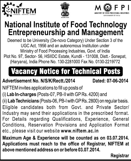 Lab Technicians (National Institute of Food Technology Entrepreneurship and Management (NIFTEM))
