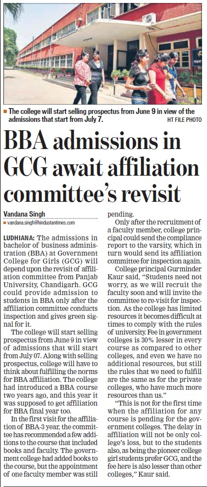 BBA admissions in GCG await affiliation committee revisit (Government College for Women)