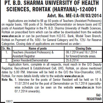 Senior Resident and Demonstrators (Pt BD Sharma University of Health Sciences (BDSUHS))