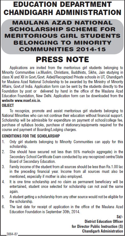Scholarship scheme to meritorious girl students (Education Department Chandigarh Administration)