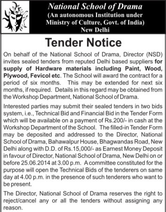 Supply of hardware materials (National School of Drama)