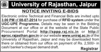 Purchase of RFID system (University of Rajasthan)