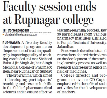 Faculty session ends at Rupnagar college (Amar Shaheed Baba Ajit Singh Jujhar Singh Memorial College of Pharmacy ASBASJSM Bela)