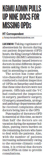 KGMU admn pulls up nine docs for missing OPDs (KG Medical University Chowk)