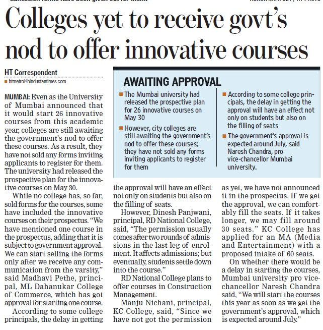 Colleges yet to recieve govts nod to offer innovative courses (University of Mumbai)