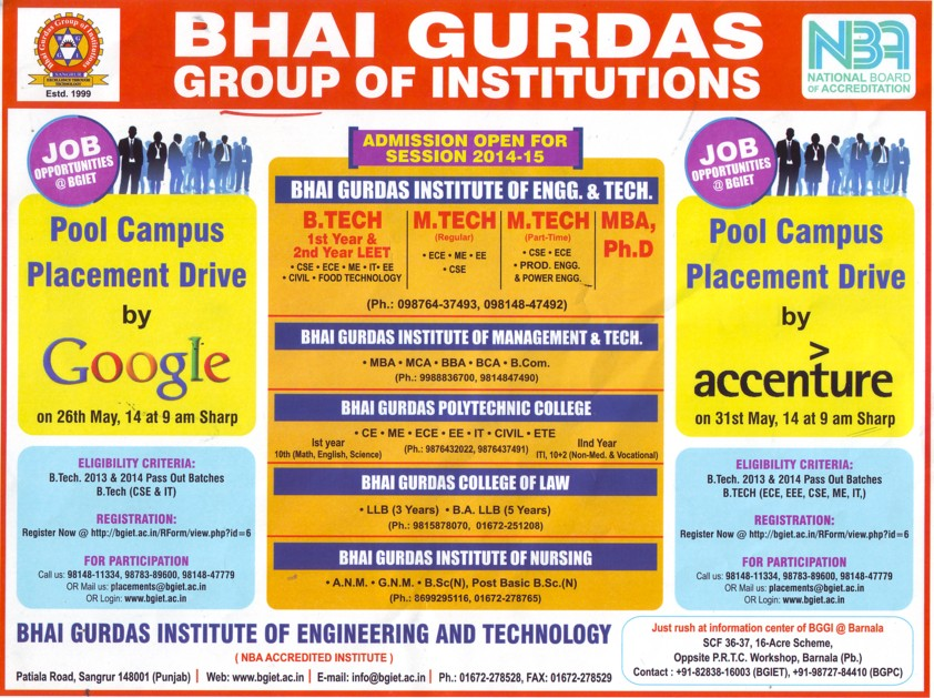 Campus placement drive by google (Bhai Gurdas Group of Institutions)