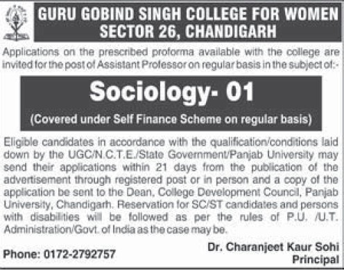 Asstt Professor for sociology (Guru Gobind Singh College for Women Sector 26)