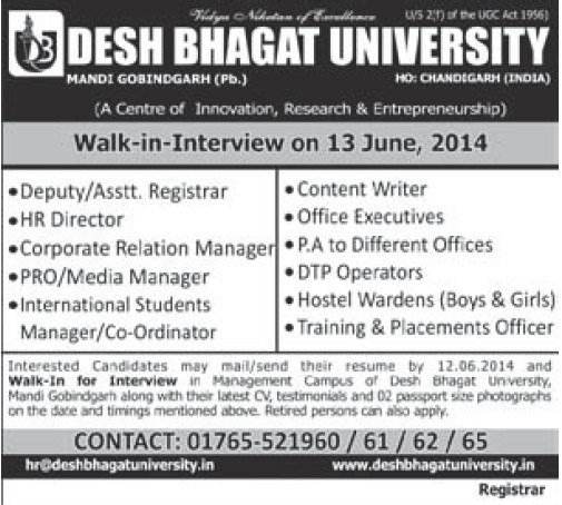 HR Director and Coordinator (Desh Bhagat University)