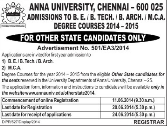 BE, B Tech and B Arch Programme (Anna University)