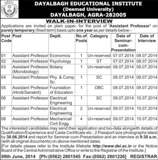 Asstt Professor for Mechanical Engineering (Dayalbagh Educational Institute Deemed University)