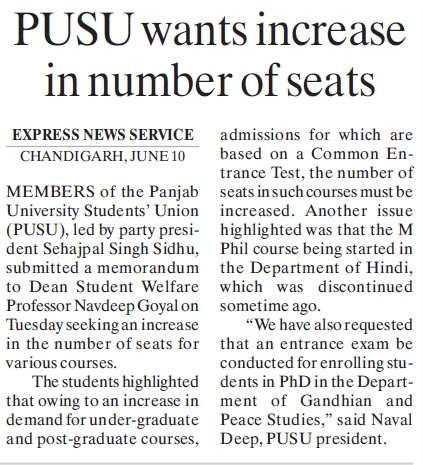 PUSU wants increase in number of seats (Panjab University Students Union PUSU)