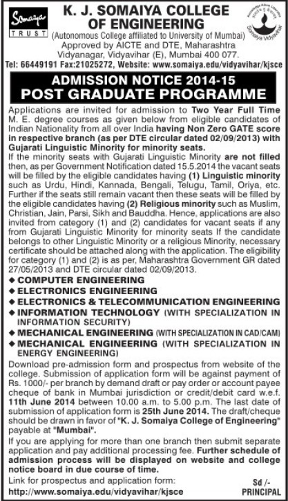 Post Graduate programme (KJ Somaiya College of Engineering (KJSCE))