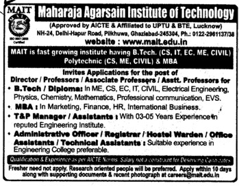 Training and Placement officer (Maharaja Agrasen Institute of Technology)