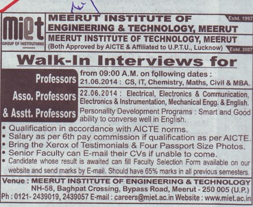 Associate Professor (Meerut Institute of Engineering and Technology MIET)