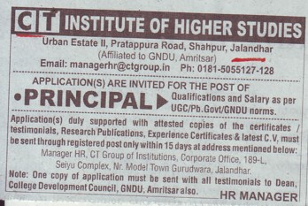 Principal required (CT Institute of Higher Studies Shahpur)