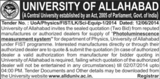 Supply of Photoluminescene measurement system (University of Allahabad (UoA))