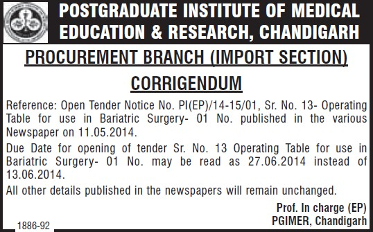 Tender changes (Post-Graduate Institute of Medical Education and Research (PGIMER))