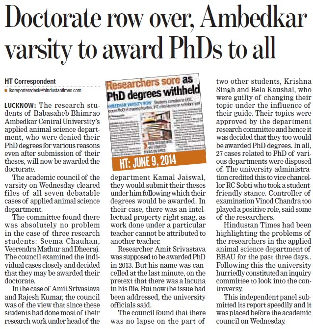 Doctorate row over, Ambedkar varsity to award PhDs to all (Babasaheb Bhimrao Ambedkar University)