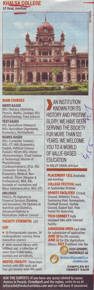 MSc in Botany and Chemistry (Khalsa College)