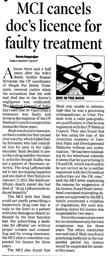 MCI cancels docs licence for faulty treatment (Medical Council of India (MCI))