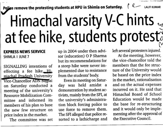 HPU VC hints at fee hike, students protest (Himachal Pradesh University)