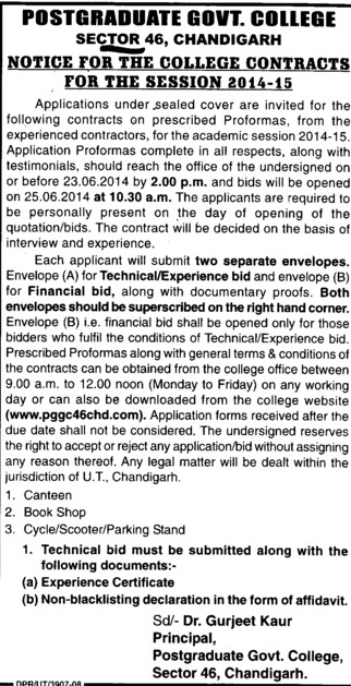 Notice for the college contract (Post Graduate Government College, Co-Educational (Sector 46))