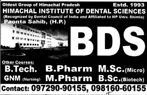 BDS Programme (Himachal Institute of Dental Sciences HIDS)
