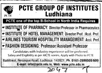 Asstt Professor for fashion designing (PCTE Group of Insitutes Baddowal)