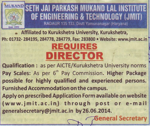 Experienced Director required (Seth Jai Parkash Mukand Lal Institute of Engineering and Technology (JMIT))