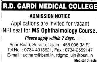 MS Ophthalmology course (RD Gardi Medical College)