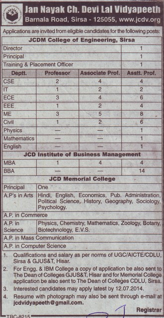 Asstt Professor for PCM (Chaudhary Devi Lal University CDLU)
