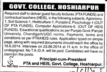 Lecturer for Social Science (Government College)