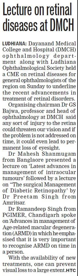 Lecture on retinal disease (Dayanand Medical College and Hospital DMC)