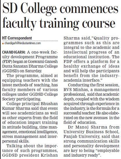 SD College commences faculty training course (Goswami Ganesh Dutta Sanatan Dharma College)