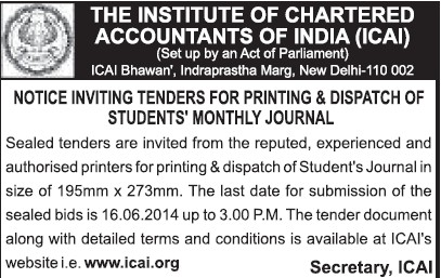 Printing and dispatch of students monthly journal (Institute of Chartered Accountants of India (ICAI))