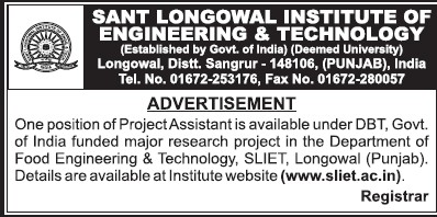Project Asstt (Sant Longowal Institute of Engineering and Technology SLIET)