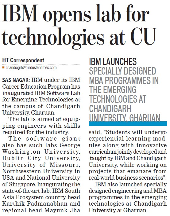 IBM opens lab for technologies at CU (Chandigarh University)