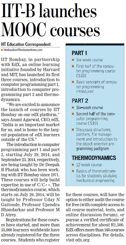 IITB launches MOOC courses (Indian Institute of Technology (IITB))