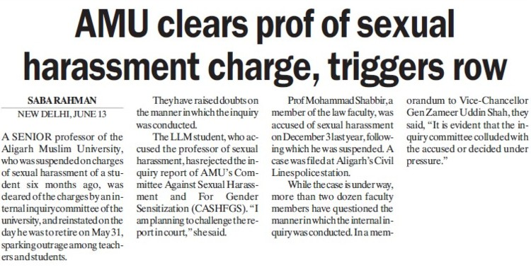AMU clears prof of sexual harassment charge (Aligarh Muslim University (AMU))