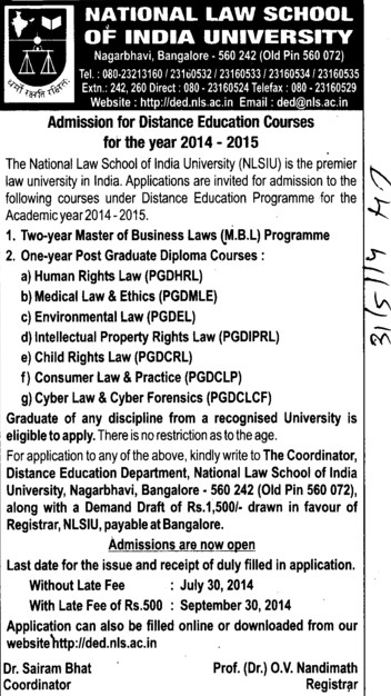 Master of Business Law (National Law School of India University (NLSIU))