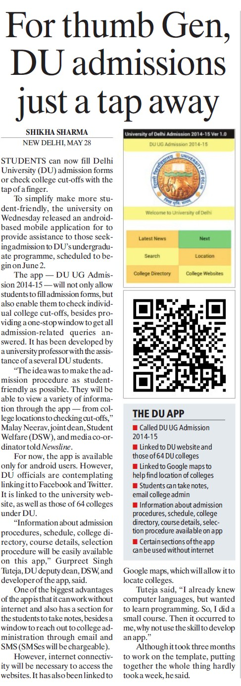 DU admission just a tap away (Delhi University)