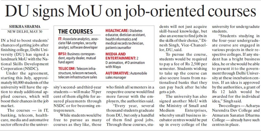 DU signs MoU on job oriented courses (Delhi University)