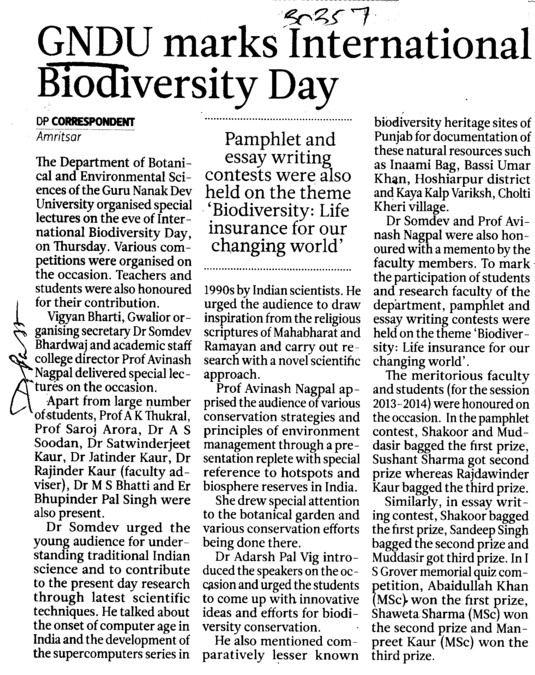 GNDU marks International Biodiversity day (Guru Nanak Dev University (GNDU))