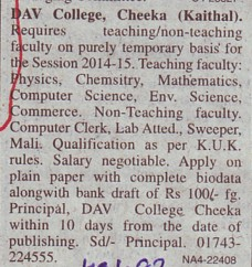 Faculty for PCM (DAV College)