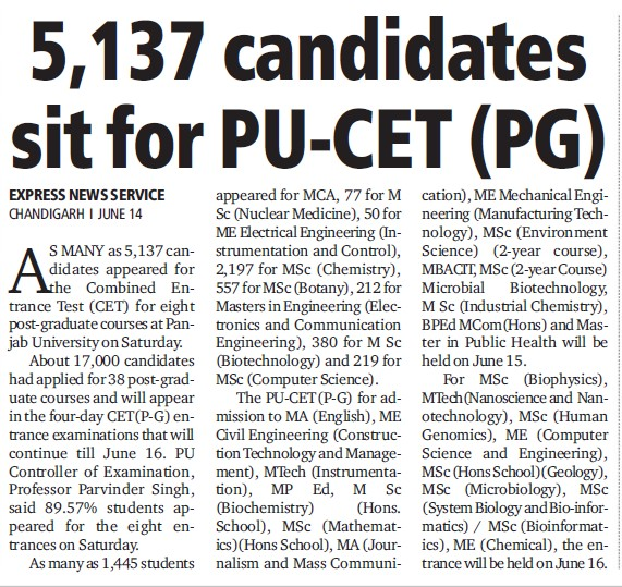 5137 candidates sit for PU CET (Panjab University)