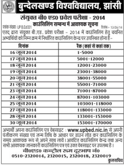 B Ed admission entrance examination 2014 (Bundelkhand University)