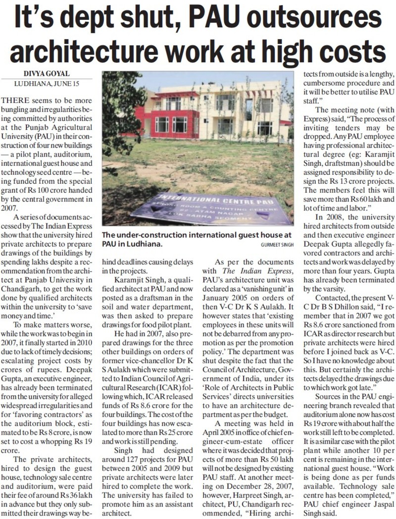 PAU outsources architecture work at high costs (Punjab Agricultural University PAU)