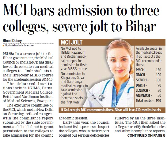 MCI bars admission to three colleges (Medical Council of India (MCI))